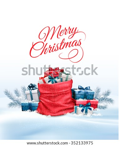 Holiday Christmas background with a sack full of gift boxes. Vector. - stock vector