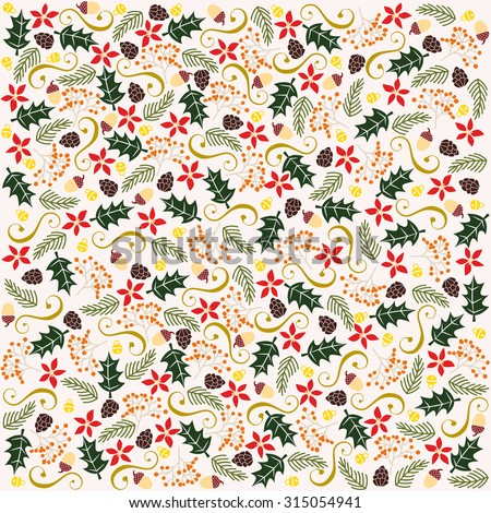 Holiday, Christmas background with christmas elements. Vector and illustration design. - stock vector