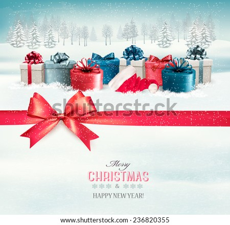 Holiday Christmas background with colorful gift boxes and a red gift ribbon. Vector.  - stock vector