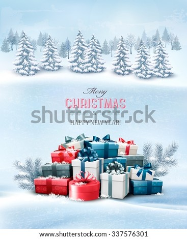 Holiday Christmas background with gift boxes and landscape. Vector.  - stock vector