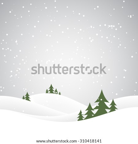 Holiday christmas background with winter landscape. Vector illustration - stock vector