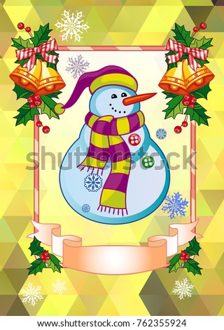 Holiday christmas card funny snowman on stock photo photo vector holiday christmas card with funny snowman on a colorful mosaic background copy space can m4hsunfo