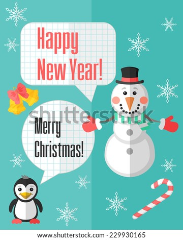 Holiday Christmas card with snowman and penguin and paper cut speech bubbles - stock vector