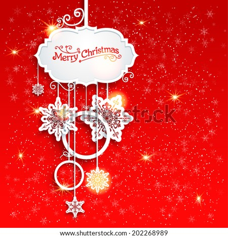 Holiday Christmas decoration on red background with place for text - stock vector