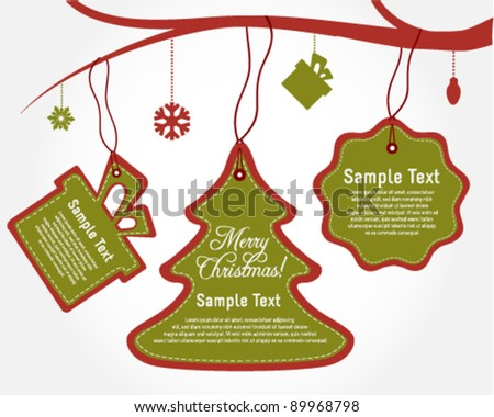 Holiday Christmas Labels - stock vector