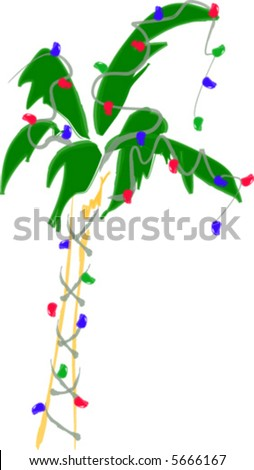 Holiday Christmas Palm Tree - stock vector