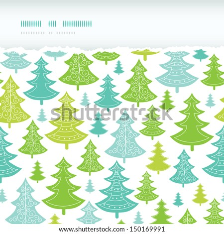 Holiday Christmas trees horizontal torn seamless pattern background - stock vector