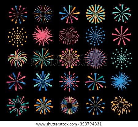 Holiday color  fireworks icons set, vector illustration - stock vector