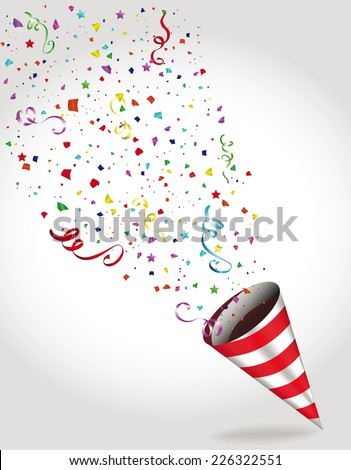 Holiday colorful banners with confetti and Party Hat