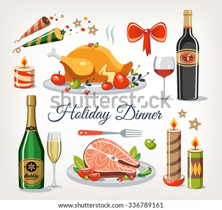 holiday dinner objects set - stock vector