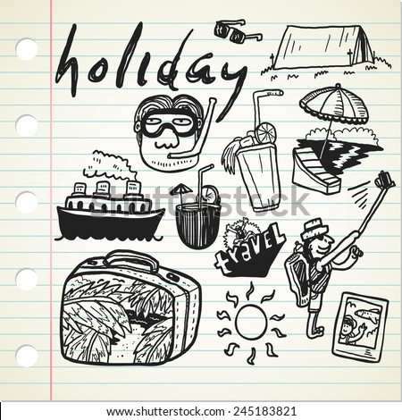 holiday doodle - stock vector
