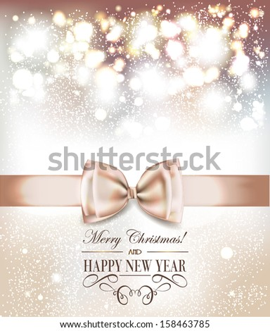 Holiday elegant card with silk ribbons - stock vector