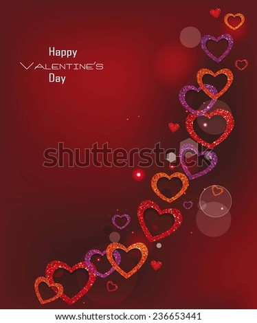 Holiday elegant valentine's card with textured hearts on the red background - stock vector