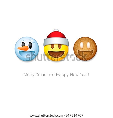 Holiday emoticon set icons, Christmas emoji symbols, isolated on white background, vector illustration. - stock vector