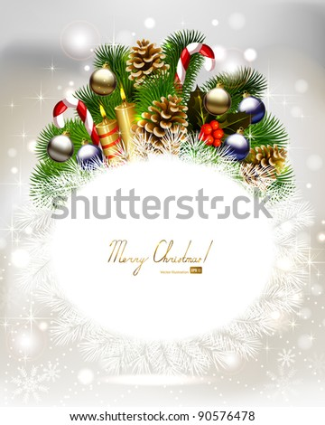 Holiday festive background with branch of fir tree with burning candles and Christmas bauble