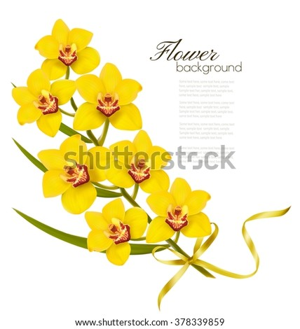 Holiday flowers background with yellow orchids and gold ribbon. Vector. - stock vector