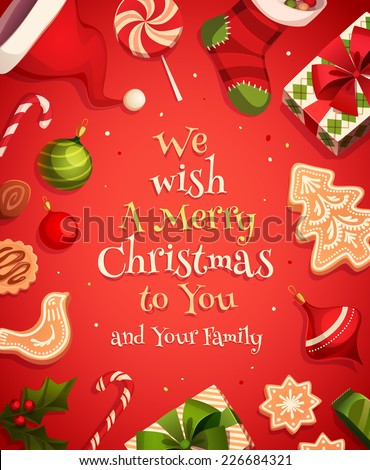Holiday frame. Christmas card \ poster \ banner. Vector illustration. - stock vector