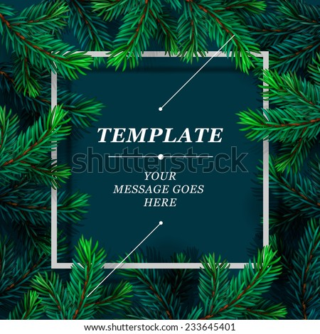 Holiday frame template. Christmas card, poster, banner. Vector illustration.  - stock vector