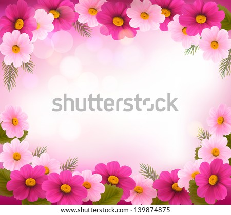 Holiday frame with colorful flowers. Vector - stock vector