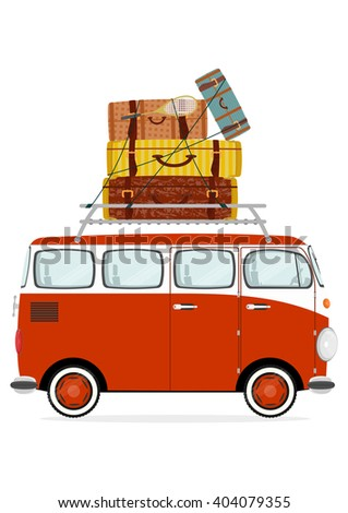Holiday. Funny cartoon minivan with suitcases on a white background. Flat vector