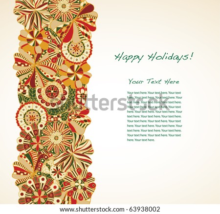 Holiday garland borders large text area. - stock vector