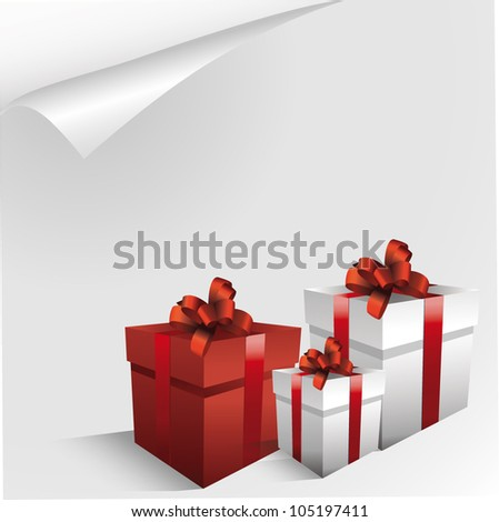 Holiday gift boxes decorated with ribbon isolated on white background. - stock vector