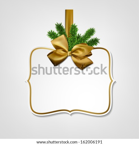 Holiday gift card with golden ribbon and satin bow. Vector illustration.  - stock vector