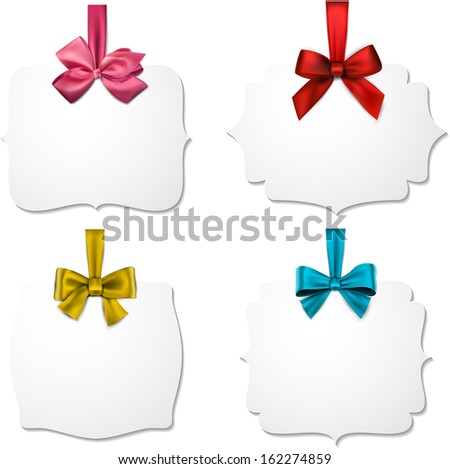 Holiday gift cards with color ribbons and satin bows. Vector illustration.  - stock vector