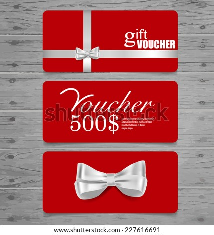 Holiday Gift Coupons with gift bows and ribbons. Vector illustration. - stock vector