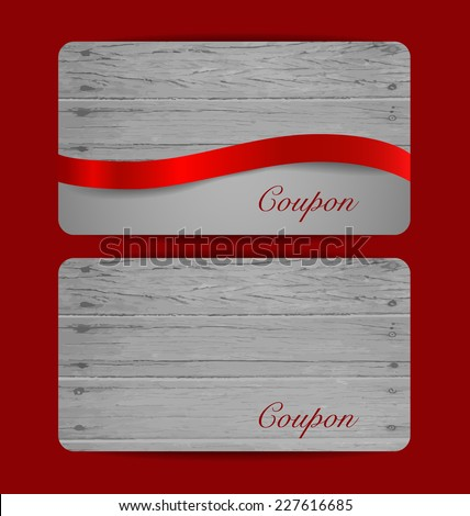 Holiday Gift Coupons with red ribbons. Vector illustration. - stock vector