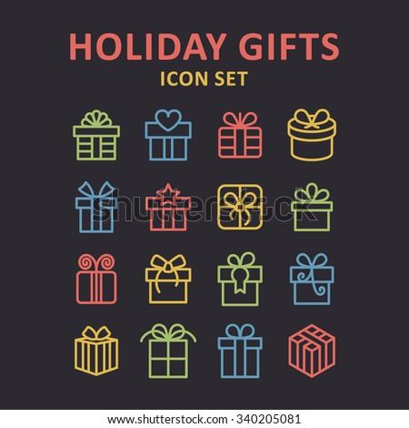 Holiday gift icons / Gift box icons / Christmas gift icons / Holiday present icons / Christmas present icons / Celebration gift icons / Surprise gift icons / Party gift icons / New year gift icons - stock vector