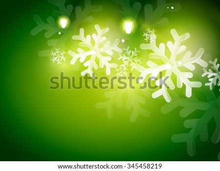 Holiday green abstract background, winter snowflakes, Christmas and New Year design template, light shiny modern vector illustration - stock vector