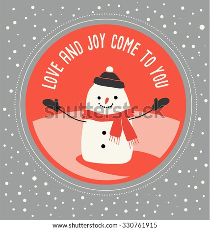 Holiday greeting card design with snowman and greeting in simple flat style  - stock vector
