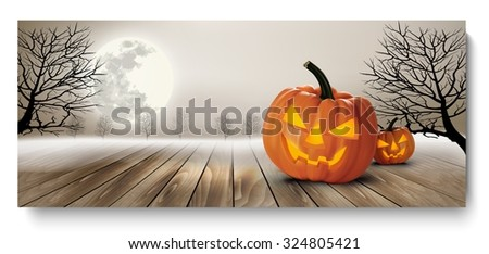 Holiday Halloween Banner with Pumpkins and Moon. Vector - stock vector