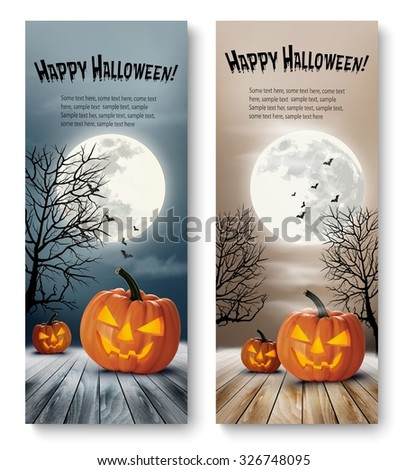 Holiday Halloween Banners with Pumpkins and Moon. Vector - stock vector