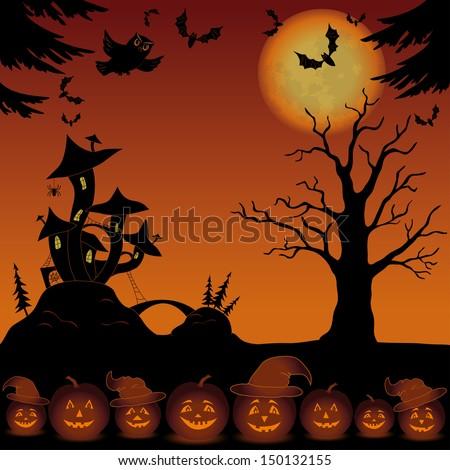 Holiday Halloween landscape with pumpkins Jack O Lantern, trees and magic Castle - mushroom. Vector - stock vector