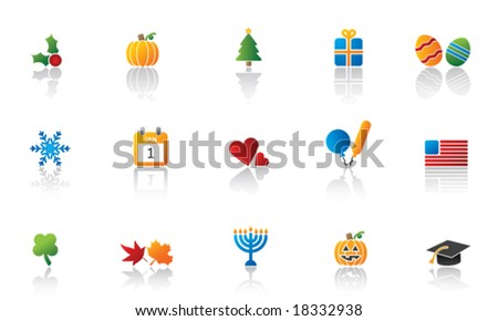 Holiday Icon Set - stock vector