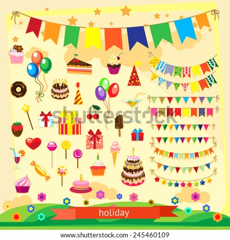Holiday icon set, flat design - stock vector