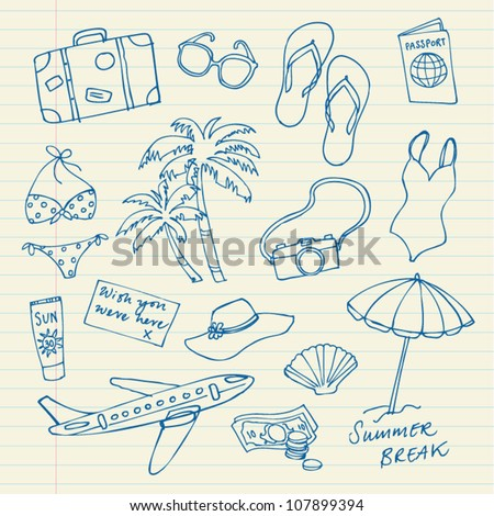 Holiday icons doodles vector drawings