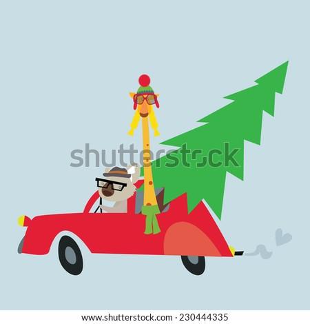 Holiday illustration with koala and giraffe - stock vector