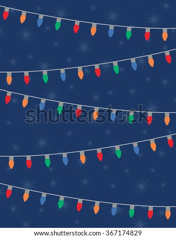Holiday lights and stars over solid blue background - stock vector