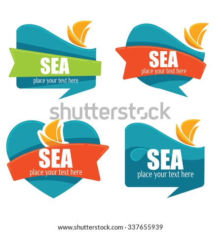 holiday on water, vector collection of travel stickers and emblems - stock vector