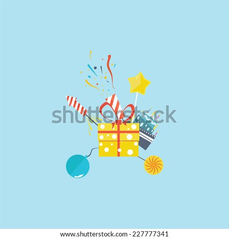 Holiday picture on the blue background. Vector. - stock vector