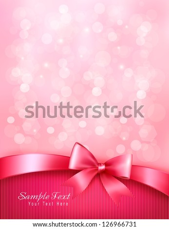 Holiday pink background with gift glossy bow and ribbon. Valentine's background. Vector - stock vector
