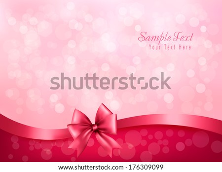 Holiday pink background with gift glossy bow and ribbon. Vector - stock vector