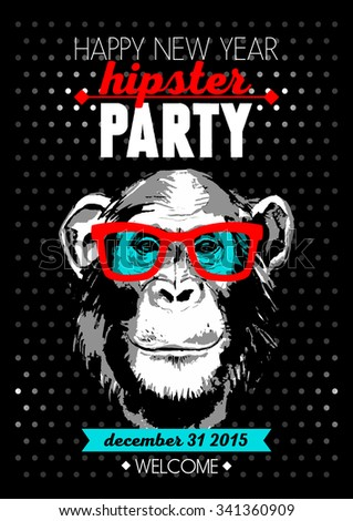 Holiday poster for Merry Christmas and Happy New Year Hipster party with hand drawn sketch monkey portrait. Vector illustration for card, print, fashion design and t-shirt graphics - stock vector