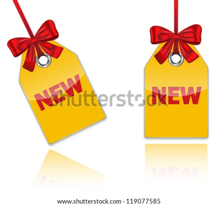 Holiday price tags tied with red bow with the word new. Glossy shopping labels with reflections. Vector illustration - stock vector