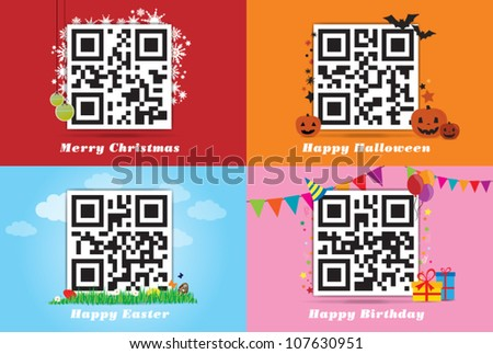 Holiday qr code - stock vector
