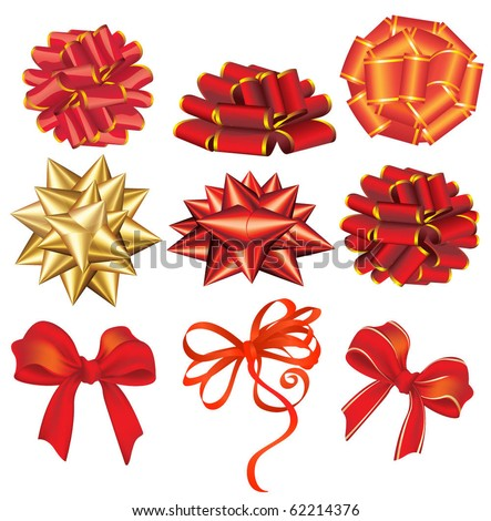 Holiday red and golden bows. Vector. - stock vector
