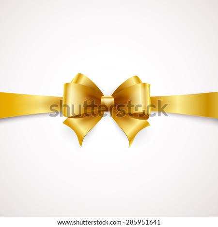 Holiday ribbon and Golden bow. Vector illustration - stock vector